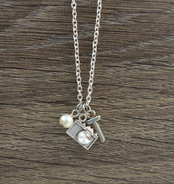 Camera Necklace, Photography Gift, Pearl Necklace, Initial Necklace, Crystal Necklace, Rhinestone Camera, Silver Chain Necklace, Custom - Flying Bird Jewelry