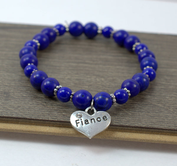 Fiance Bracelet • Fiance Gift • Something Blue • Blue Beaded Bracelet • Engagement Gift • Women's Bracelet • Fiance Jewelry • Wedding - Flying Bird Jewelry