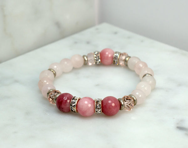 Pink Gemstone Beaded Bracelet, Wedding, Bridesmaid Gift, Womens Bracelet, Stretch, Rhinestone Spacers, Wedding Jewelry, Blush Wedding - Flying Bird Jewelry