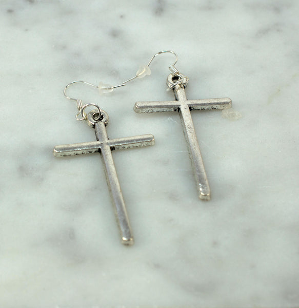 Cross Earrings, Silver Cross Earrings, Silver Cross, Dangle Earrings, Long Earrings, Large Cross Earrings, Gift for Her, Christian Jewelry - Flying Bird Jewelry
