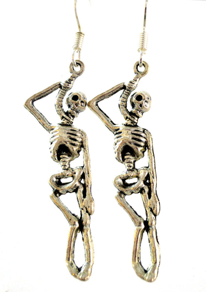 Skeleton Earrings, Halloween Earrings, Skeleton Jewelry, Skull Earrings, Halloween Jewelry, Dangle Earrings, Hanging Skeleton Earrings - Flying Bird Jewelry
