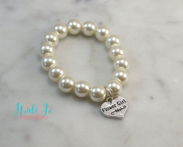 Flower Girl Pearl Bracelet - 10mm Ivory - Flying Bird Jewelry