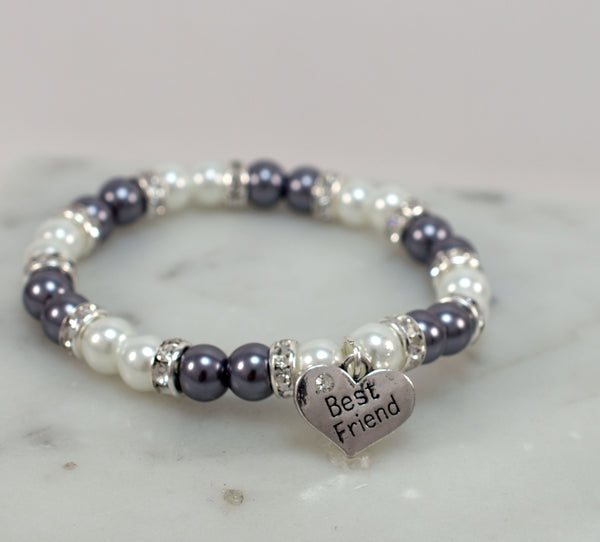 "Best Friend Gift | Dark Gray & White Pearl Bracelet | Best Friend Bracelet | Gift for Best Friend | Rhinestone Bracelet | Charm Bracelet | 7.75"" - Flying Bird Jewelry"