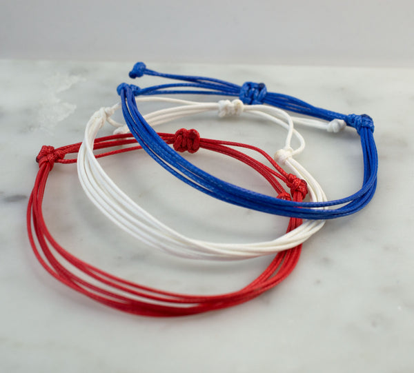 Red, White or Blue Waxed Cord Bracelets | 4th of July Jewelry | Waterproof | Adjustable | Set - Flying Bird Jewelry