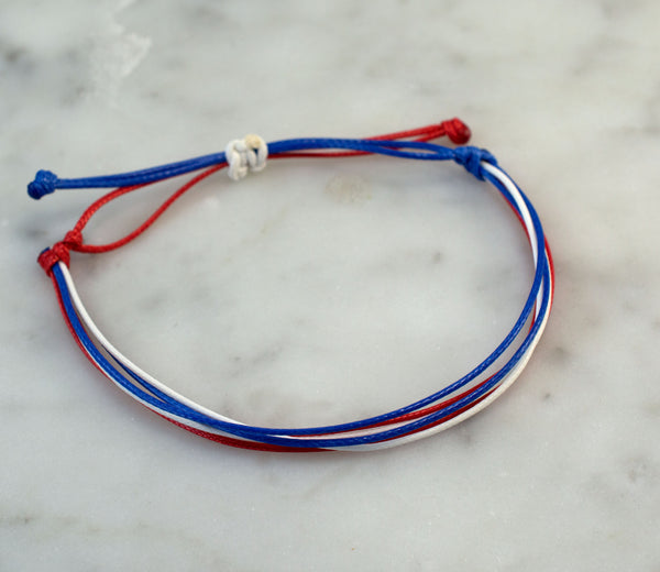 Red, White, Blue Waxed Cord Bracelet | Waterproof Bracelet | Adjustable 5 - 9"