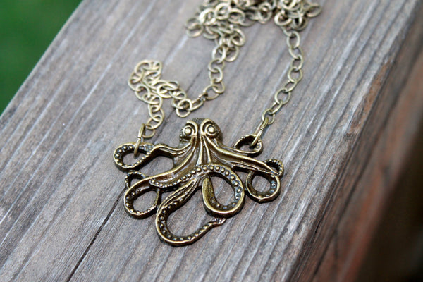 Octopus Necklace, Octopus Jewelry, Ocean Jewelry, Bronze Necklace, Nautical Jewelry, Beach Jewelry,  Gift for Her, Beach Necklace, Handmade - Flying Bird Jewelry