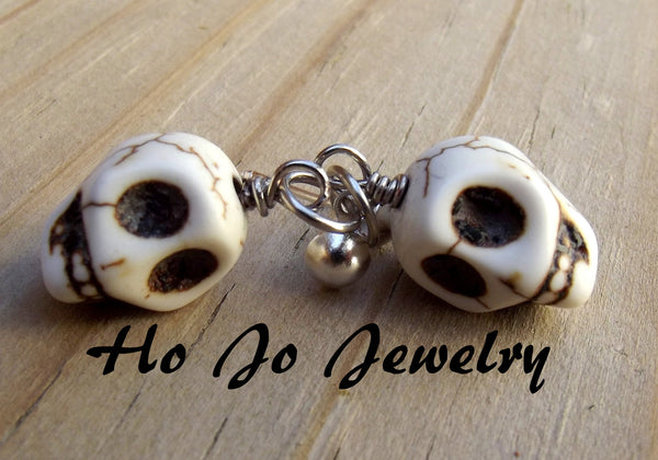 Skull Post Earrings, Skeketon, Turquoise Gemstone, Other Colors available, Halloween Jewelry, Halloween Earrings, Skull Jewelry - Flying Bird Jewelry