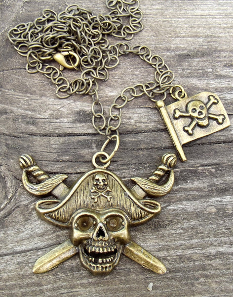Pirate Necklace, Skull Necklace, Bronze Necklace, Pirate, Skull, Gift for Her, Gift for Him, Pirate Jewelry, Ocean Jewelry, Ocean Necklace - Flying Bird Jewelry