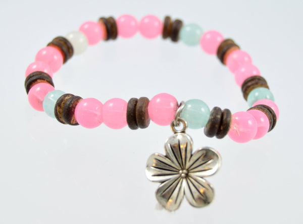 Flower Beaded Bracelet, 5 Petal Flower, Pink Beaded Bracelet, Women's Bracelet, Custom Bracelet, Handmade, Stackable Bracelet, Flower Charm - Flying Bird Jewelry