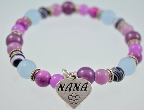 Nana Beaded Bracelet, Gift for Nana, Heart Charm Bracelet, Gemstone Bracelet, Nana Jewelry, Nana Bracelet, Women's Jewelry, Custom, Handmade - Flying Bird Jewelry