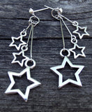Star Earrings, Silver Tone, Post Earrings, Dangly, Trendy, Star Jewelry, Edgy, Hand Crafted - Flying Bird Jewelry