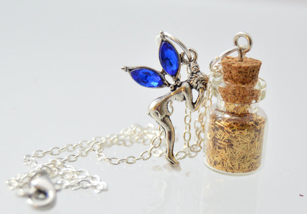 Childrens Fairy Necklace, Gold Pixie Dust, Fairy Jewelry, Kids Necklace, Fairy Jewelry, Handmade, Choose Fairy Color, Silver Necklace - Flying Bird Jewelry