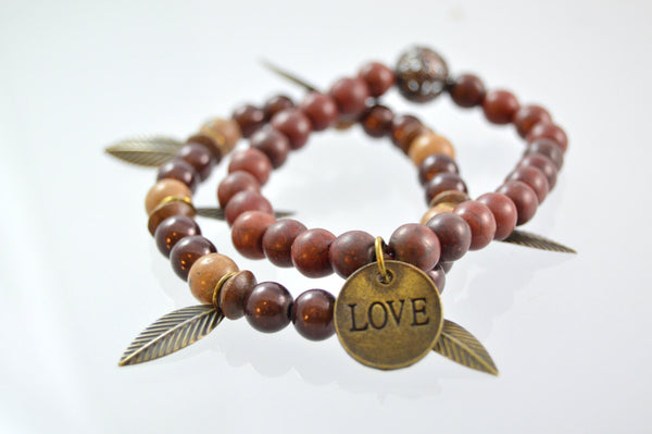 Beaded Bracelet, Bronze Love Bracelet, Brown Bracelet, Gift for Her, Womens Bracelet, Stretch Bracelet, Fall Jewelry, Leaf Jewelry, Gift For - Flying Bird Jewelry