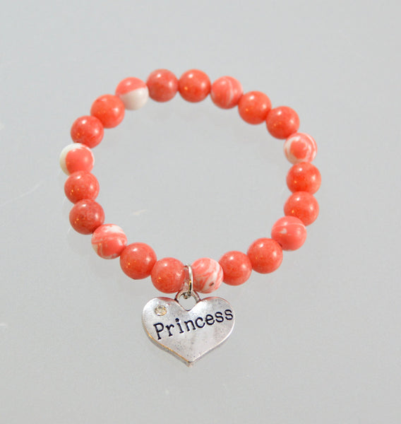 Princess Beaded Bracelet, Newborn, Baby Bracelet, Baby Jewelry, Rhinestone Heart, 6mm Beads, Children Jewelry, Coral, Pink - Flying Bird Jewelry