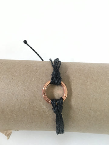 Black Bracelet, Rose Gold Circle