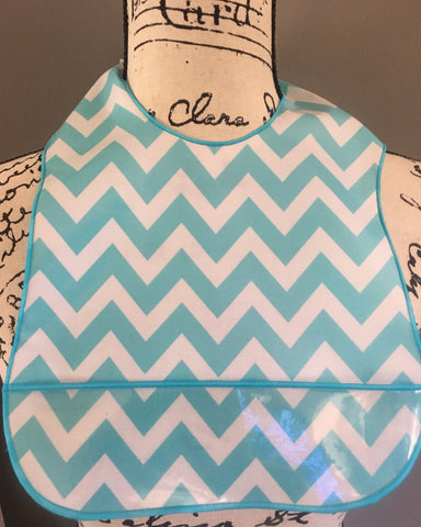 Chevron Aqua Laminate Bib
