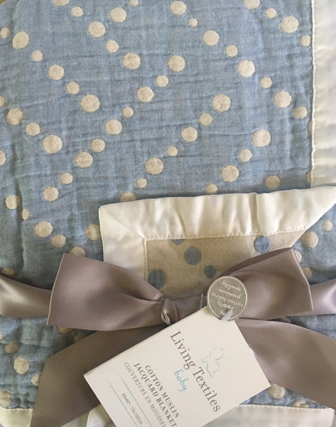Muslin Blanket Blue Dots