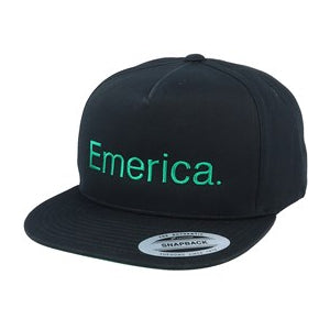 Emerica Pure Five Panel Cap - Black/Green