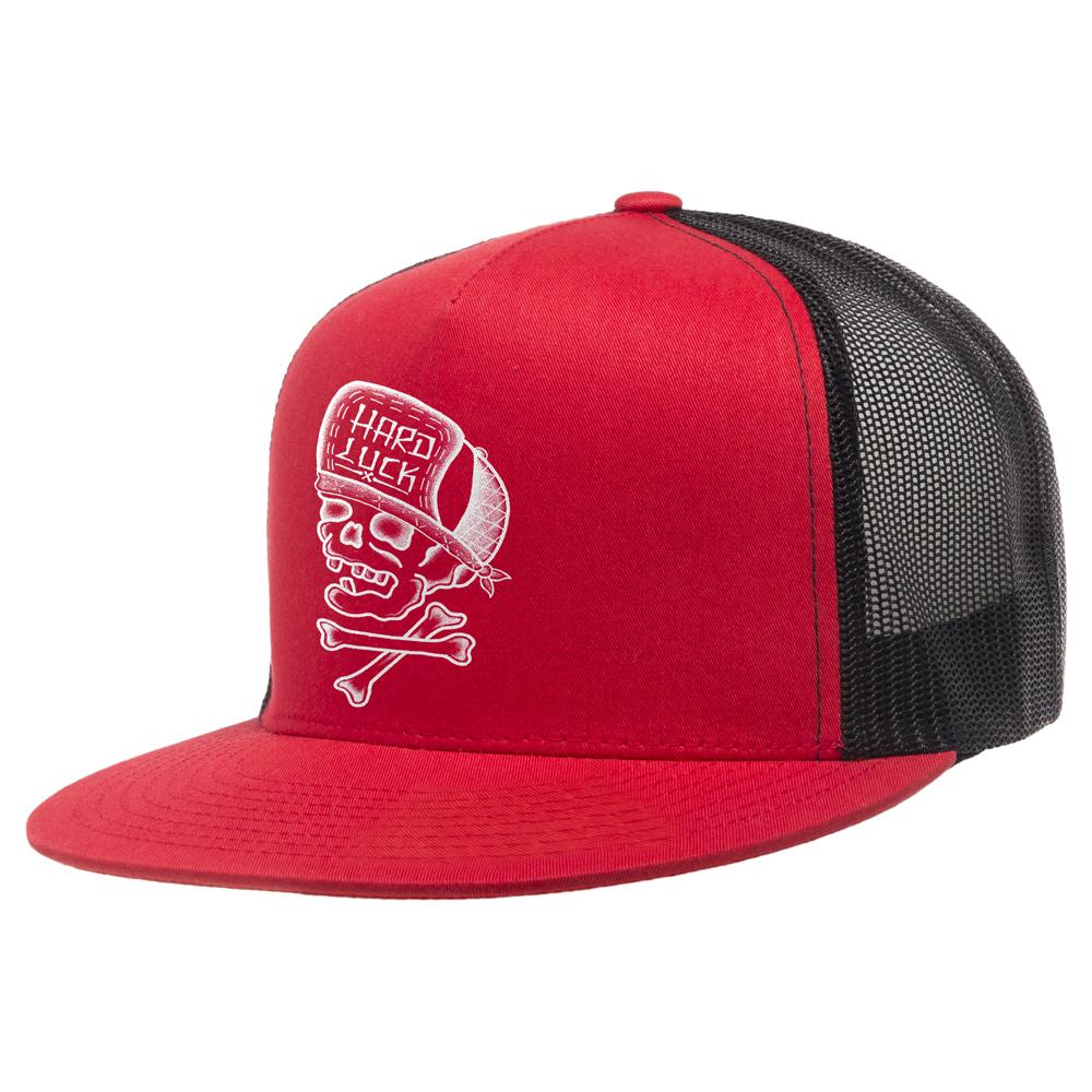 Hard Luck Skull & Bones Trucker Cap - Red/Black