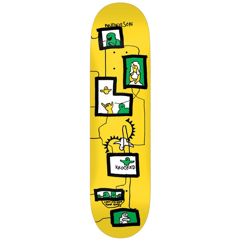 Krooked Mike Anderson Frames Yellow Skateboard Deck - 8.38