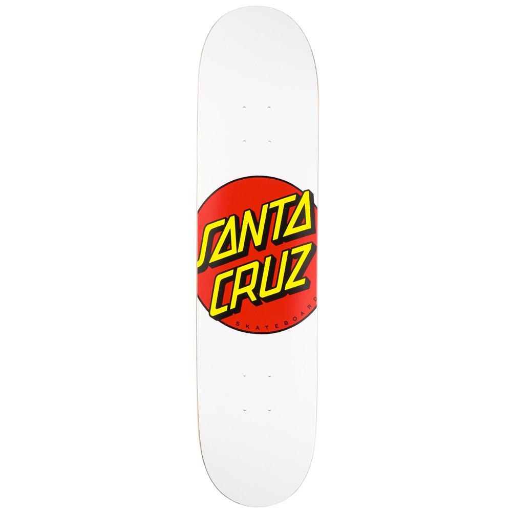 Santa Cruz Classic Dot White Skateboard Deck - 8.00