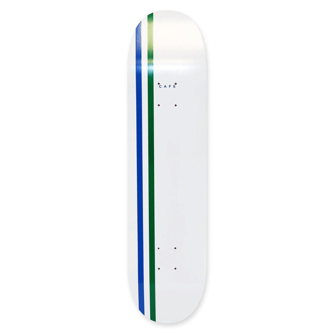 Skateboard Cafe Stripe Skateboard Deck (White/Royal/Emerald) - 8.38