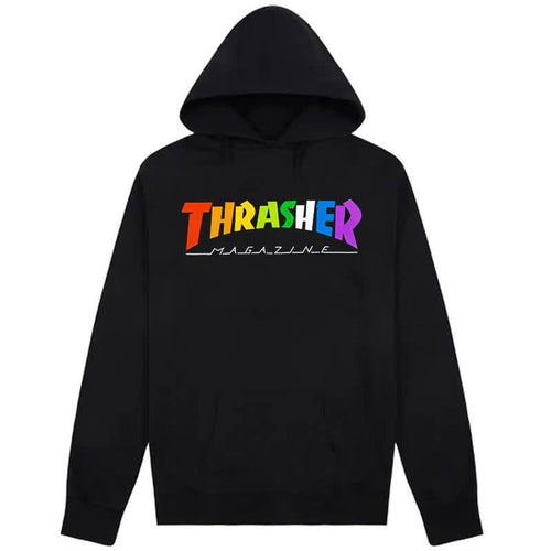 Thrasher Magazine Rainbow Hoody - Black