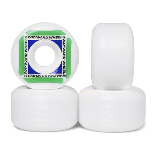 Wayward Wheels Waypoint Formula White/Green Skateboard Wheels - 55mm