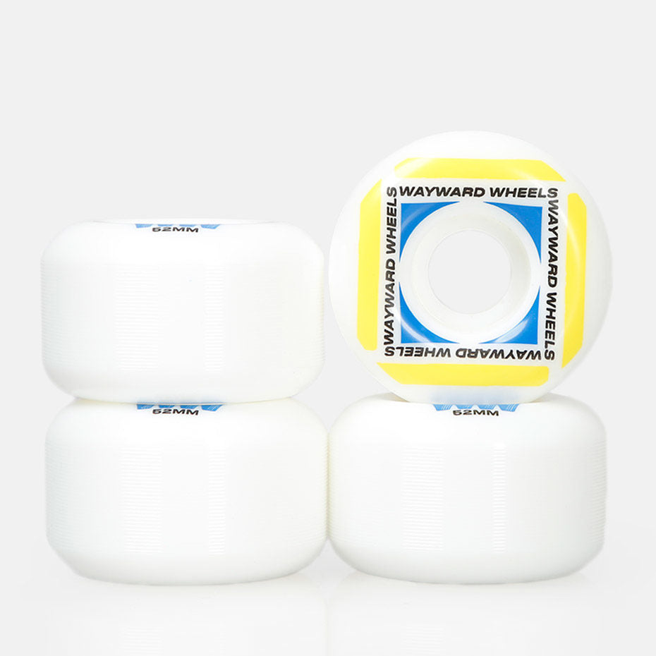 Wayward Wheels Waypoint Formula White/Yellow Skateboard Wheels - 52mm