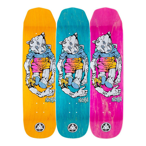Welcome Skateboards Teddy - Nora Vasconcellos Pro Model on Wicked Princess Skateboard Deck - 8.125 (Grey/Various Stains)