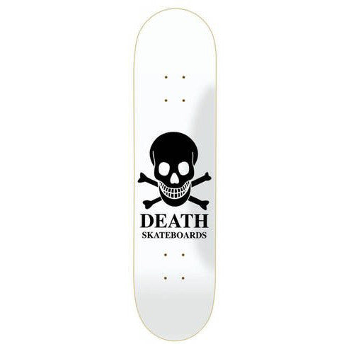 Death Skateboards OG Skull Skateboard Deck  - White/Black - 8.5