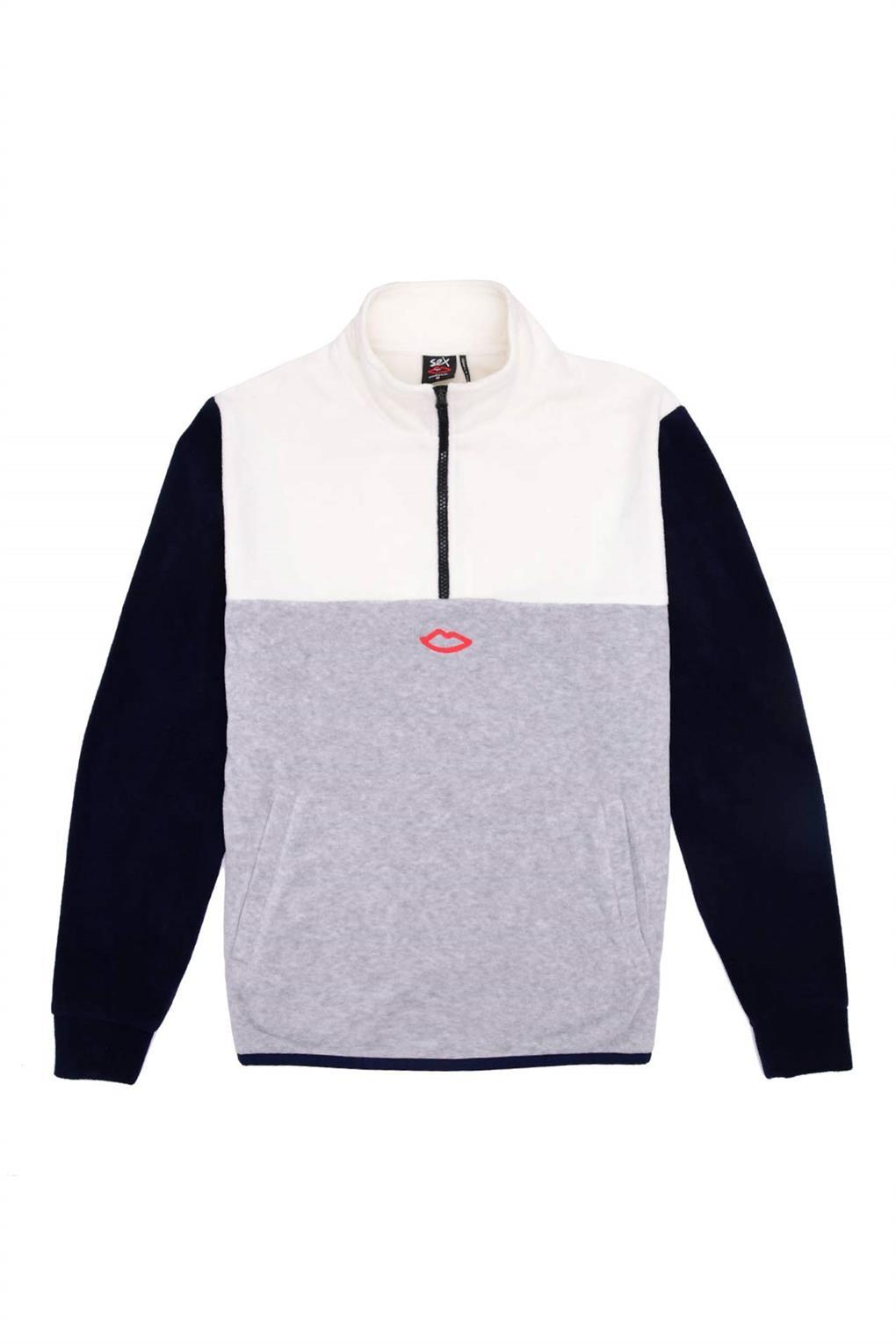 Sex Skateboards 3 Way Quarter Zip Fleece - Off White/Navy/Grey