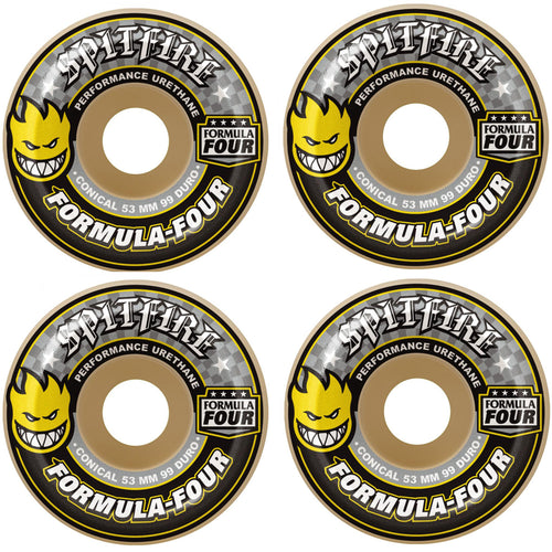 Spitfire Formula Four Conical 99DU Yellow Print Natural 52mm