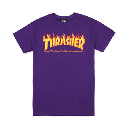 Thrasher Magazine Flame Logo T-Shirt - Purple