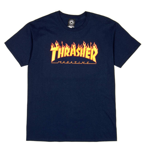 Thrasher Magazine Flame Logo T-Shirt - Navy