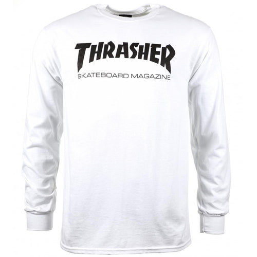 Thrasher Magazine Logo Long Sleeve T Shirt - White