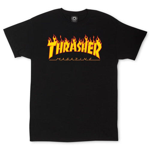 Thrasher Magazine Flame Logo T-Shirt - Black