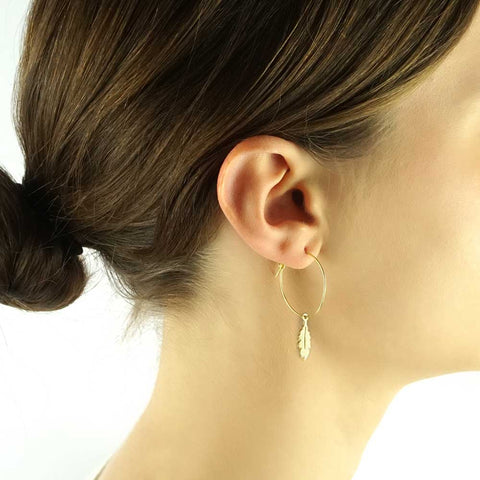 HOOP EARRINGS - large hoop, feather