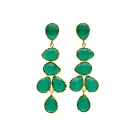 SERAPHINA chandelier EARRINGS - emerald green