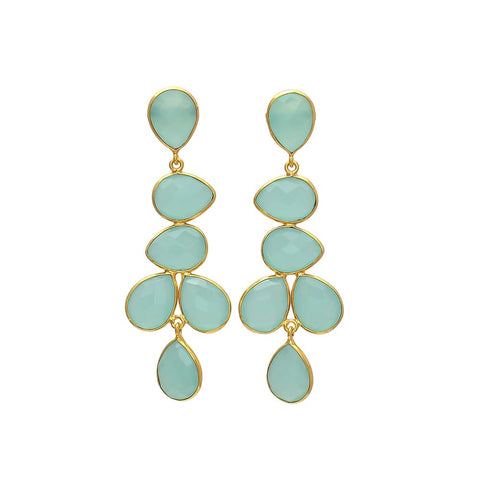 SERAPHINA long chandelier EARRINGS - AQUA