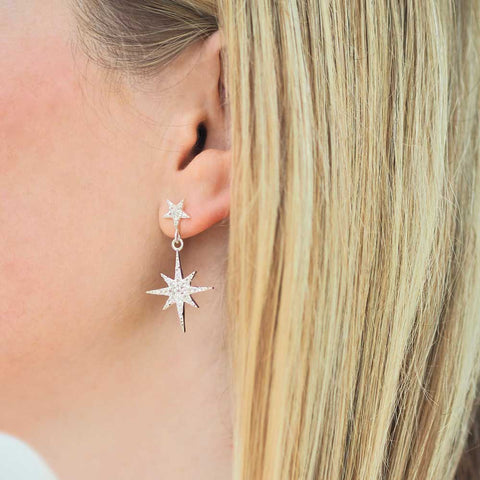 Astra starburst stud earrings with drop - silver