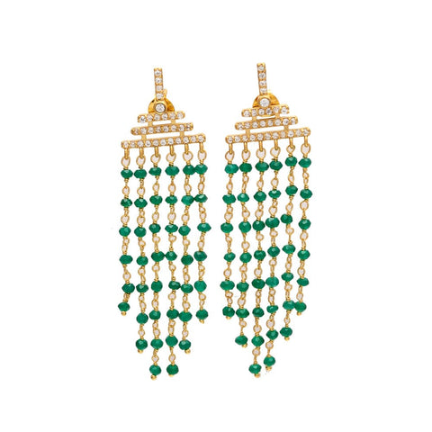 Olivia long chandelier EARRINGS - emerald