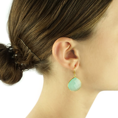 classic round drop earrings - aqua