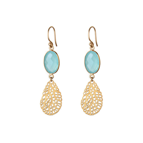 CORAL EARRINGS - AQUA