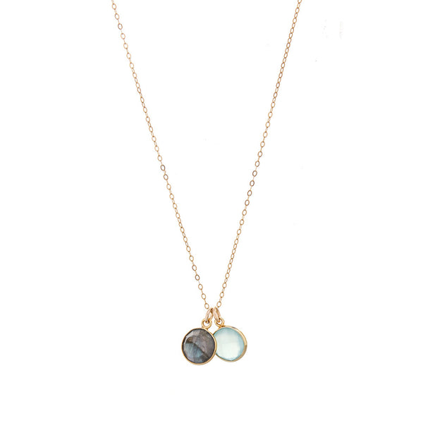 sophie DOUBLE DROP PENDANT (GOLD) - AQUA AND SMOKE