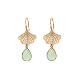 Jasmine fan EARRINGS - aqua chalcedony