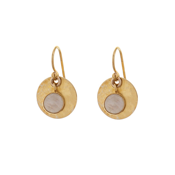 HAMMERED DISC EARRINGS - MOONSTONE