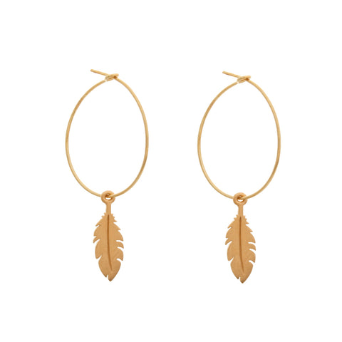 flora feather HOOP EARRINGS - large hoop, feather hoops, as seen on Emilia Fox