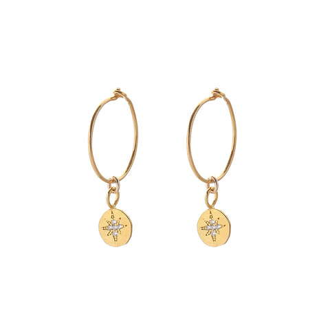 HOOP EARRINGS - small hoop - shooting star  / gold /