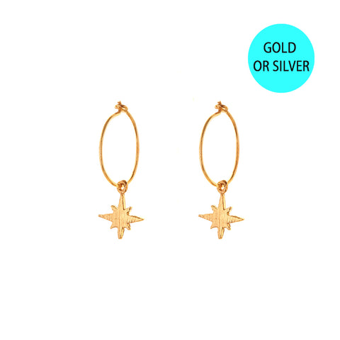 HOOP EARRINGS - small hoop - medium starburst / gold